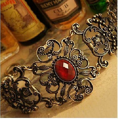 B1024 New Nice Fashion Jewelry Vintage Retro Hollow-out Dark Red Flower Bracelet