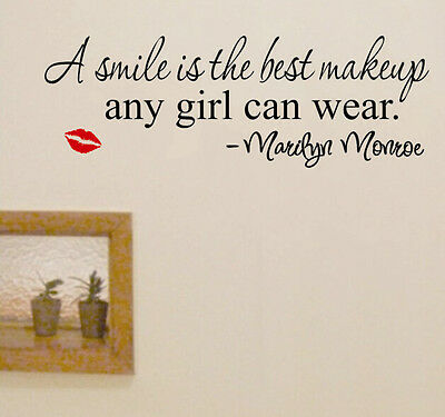Sexy Smile Makeup Marilyn Monroe Quote Vinyl Wall Stickers Mural New Home Decal