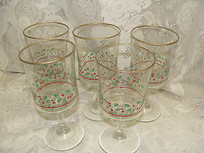 (5)  1986 ARBY'S  LIBBEY HOLLY RED BERRIES CHRISTMAS SWIRL STEM GOBLETS