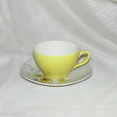 VINTAGE J & G MEAKIN SOL SUMMERTIME CUP & SAUCER 1950's YELLOW SQUARE SAUCER