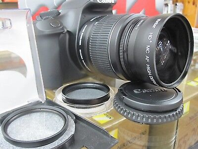 Wide Angle Macro Lens For Canon Eos Digital Rebel sl1 t5i xti t2i t3i w18-55 rup
