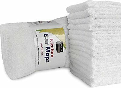 NEW Utopia Cotton Bar Mops Kitchen Towels 12 Pack White FREE SHIPPING