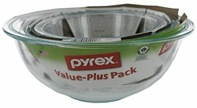 NEW Pyrex Prepware 3 Piece Mixing Bowl Set Clear FREE SHIPPING