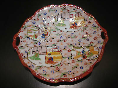 Antique Large Handled Oriental Asian Plate Dish Girls