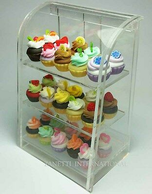 30 Dollhouse Miniature Cupcakes in Display Cabinet Shop Store Mini Food Cake
