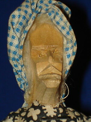 "7"" Hand Carved Wooden Old Woman Doll American Folk Art Probably Southern"