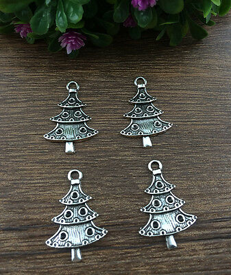 Wholesale 10pcs Tibet silver Christmas Tree Pendant beaded Jewelry Findings