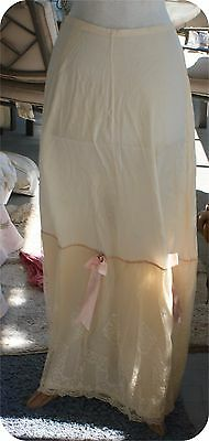 vintage 1920s GORGEOUS SILK & ORNATE LACE SLIP FANCY RIBBONS SWEET VICTORIAN