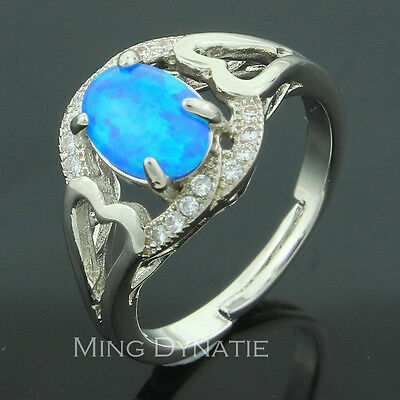 Elegant Pacific Blue Fire Opal Silver Jewelry Ladies & Men Ring US Size 6