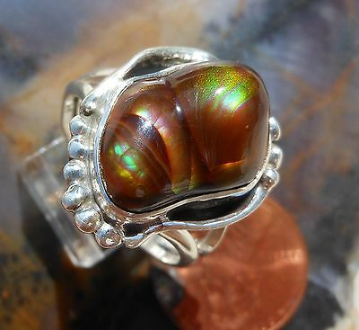 New Sterling Silver and Fire Agate Gem ring size 8 2/3