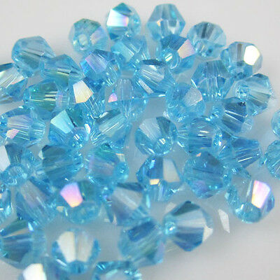 Jewelry making 100pcs 4mm #5301 colorful Bicone glass crystal beads Sky Blue AB