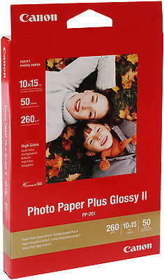 Canon Inkjet Paper PP-201 50 Sheets A6 6x4 260gsm Photo Paper Plus Glossy II