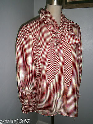Act III Women's Square Dance Red White Checkered Long Sleeve Sheer Blouse sz. 18
