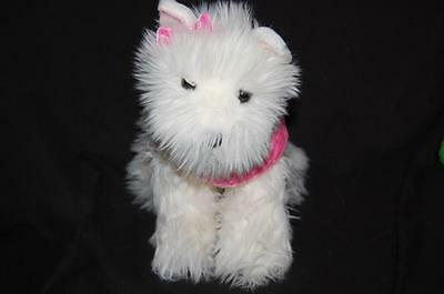 "RUSS ELLE ULTA FLUFFY WHITE PUPPY DOG PINK COAT 11"" PLUSH   STUFFED ANIMAL LOVEY"