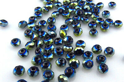 DIY Jewelry Faceted 100 pcs Plating AB Blue #5040 3x4mm Roundelle Crystal Beads