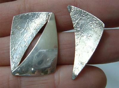 Vtg ED LEVIN Modernist Sterling Silver Earrings Asymmetric Textured Signed Posts