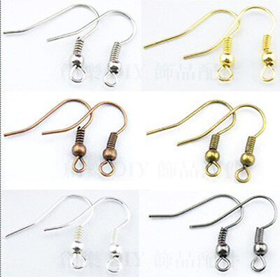 NEW  Wholesale 100Pcs 19mm MIX colors EARRING HOOK COIL EAR WIRE FIT