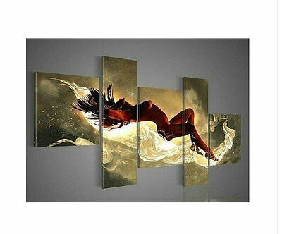Handmade 5pc Beautiful MODERN ABSTRACT HUGE WALL ART OIL PAINTING ON CANVAS