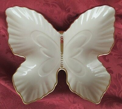 Lenox Cream Butterfly Shaped 8 5/8 Divided Dish Retired *