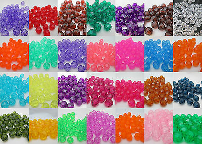 50 - 10mm Round Faceted Acrylic / Plastic Beads