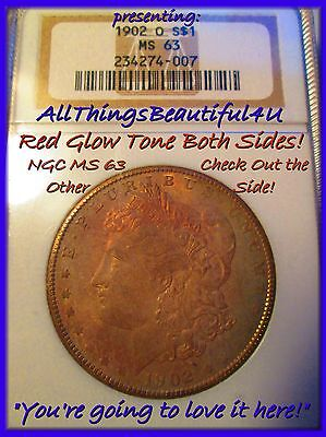 1902-O $1 Morgan Silver Dollar NGC Deep Red Toned MS63 Double Profile Reverse