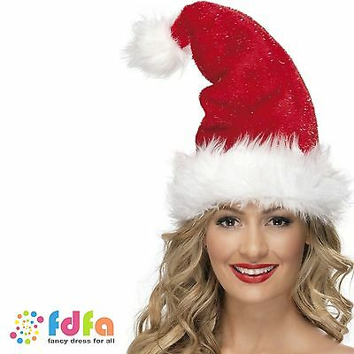 MISS SANTA MRS CLAUS RED HAT WITH TINSEL - ladies womens fancy dress christmas