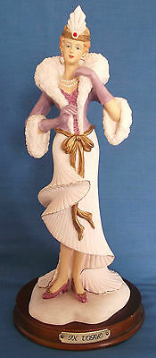 BEAUTIFUL IN VOGUE LADY IN FLOWING ART DECO COSTUME & HEADDRESS LARGE FIGURINE