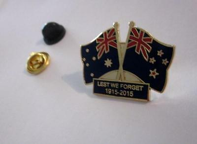 Australia & New Zealand Flags Pin Badge 1915-2015 Gallipoli Anniversary