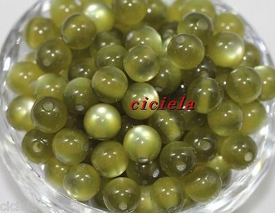 Wholesale 20Pcs Army Green Pretty Acrylic Cats Eye Round Loose Beads Jewelry 8mm