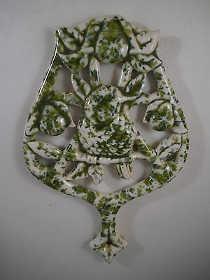 Vintage Ceramic Bird Partridge in a Pear Tree Trivet Green White Speckled