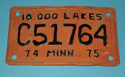 License Plate Minnesota C51 764 10,000 Lakes Motorcycle 1974/75 Expired 1975