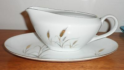 Vintage Treco China Japan Harvest Queen Plate & Gravy Boat  -  Gold Wheat