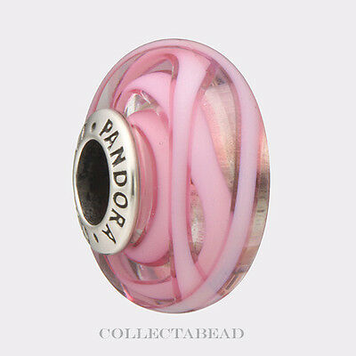 Authentic Pandora Sterling Silver Murano Pink Ribbon Of Hope Bead 791604