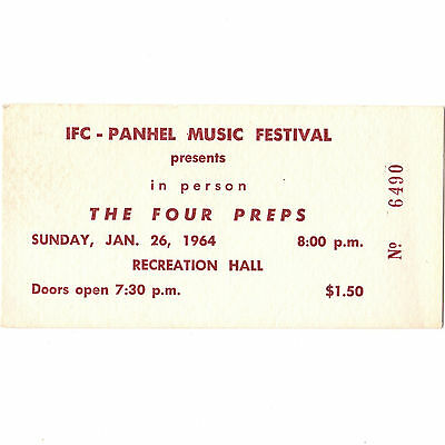 THE FOUR PREPS Concert Ticket Stub STATE COLLEGE PA 1/26/64 PENN MUSIC FEST