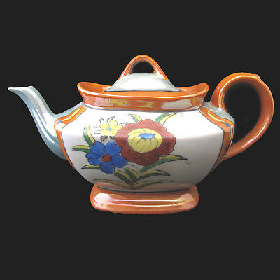 VINTAGE JAPANESE LUSTERWARE TEAPOT HAND PAINTED orange blue yellow gray