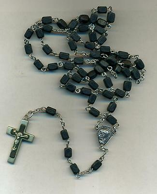 Rosary-8mm Wooden Beads-Black-Metal and wood cross