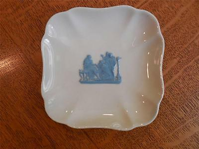 Wedgwood Embossed Queensware TWO lavender on cream square trays ca 1956