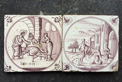 Antique 2 x Dutch Delft Tile Biblical + Text 18th C. Manganese
