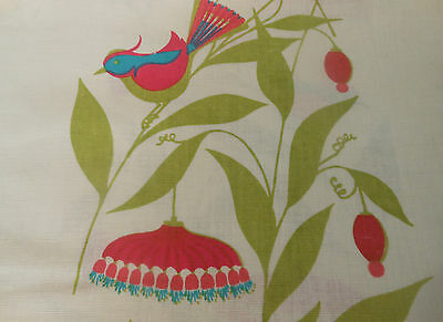 Vintage Retro Mid Century Bird Floral Fabric ~ Pink Turquoise Chartreuse