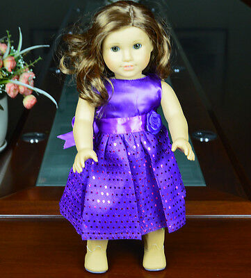 """Doll Clothes fits 18"""" American Girl Handmade Purple Party Dress"""