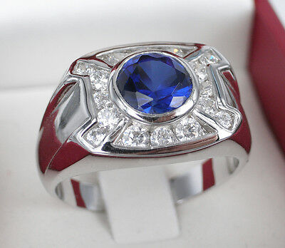 Deluxe 18K White Gold GP Simulated Stones Deep Blue CZ Mens Ring Size 11.5