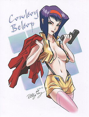 Cowboy Bebop Faye Sexy Smoking Cigarette Busty With Pistol Signed 8.5x11 Print