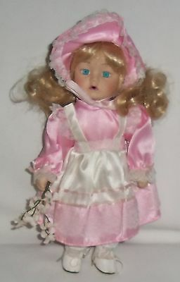 GIRL IN PINK & WHITE LACY DRESS WITH BONNET - Porcelain Doll - 10 inches tall