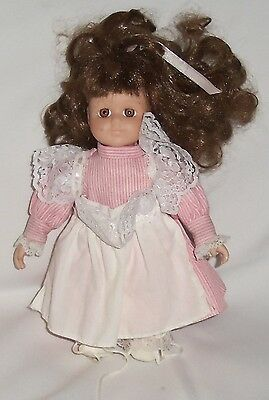 GIRL IN PINK STRIPED DRESS WITH WHITE APRON - Porcelain Doll - 8 1/2 inches tall