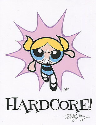 Powerpuff Girls Bubbles Hardcore Autographed Signed 8.5x11 Print