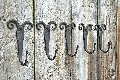 A Set 5 Of Beautiful Blacksmith Handmade Rams Head Wall Hook Coat Hanger Ram B12