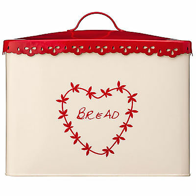 Anglaise Cream Red Vintage Heart Kitchen Home Bread Loaf Storage Bin Metal New