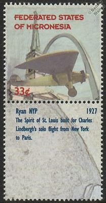RYAN NYP Spirit of St Louis Aircraft Mint Stamp & Label (1999 Micronesia)