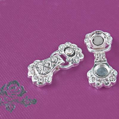 2X Fancy Sier Plated Rhinestone Strong Magnetic Clasp
