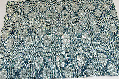 Antique Woven Blue Coverlet 15 x 22 Piece Repurpose Craft for Runner